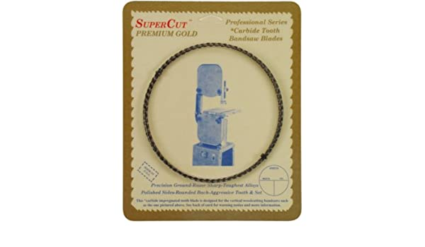 1//2 Width; 3 Hook Tooth 92-1//2 Long SuperCut B92.5G12H3 Carbide Impregnated Bandsaw Blade