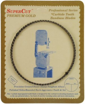 SuperCut B92.5G38H4 Carbide Impregnated Bandsaw Blade, 92-1/2 Long - 3/8 Width; 4 Hook Tooth