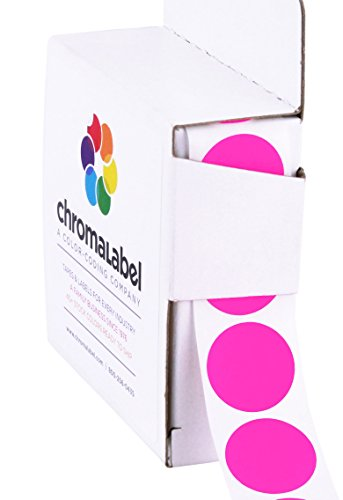 (ChromaLabel 3/4 inch Color-Code Dot Labels | 1,000/Dispenser Box (Fluorescent Pink))