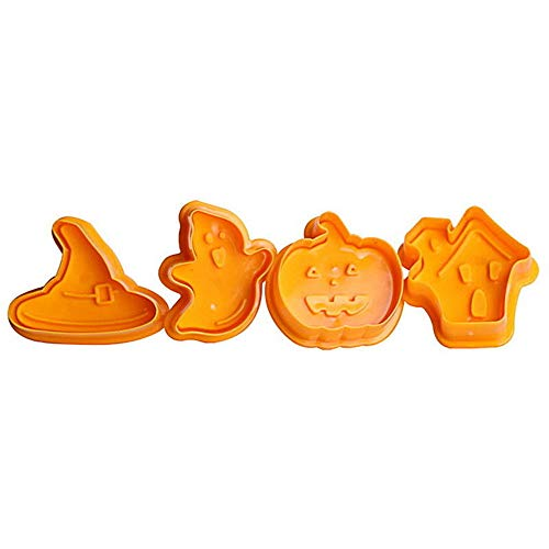 YARUMI Set of 4 Halloween Shaped Cookie Making Mold Cutter Stampers Cake Pattern Non-Stick Plastic Holiday Decorations Cupcake Decorating Witches Hats Cute Ghost Scary Houses Pumpkins DIY Tools