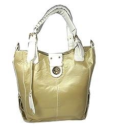 Liz Soto Metallic Gold and White 2 in 1 Vegan Faux Leather Shoulder Handbag