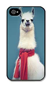 iPhone 4 Case,iPhone 4S Case,VUTTOO Stylish Lama With Scarf Hard Case For Apple iPhone 4/4S - PC Black