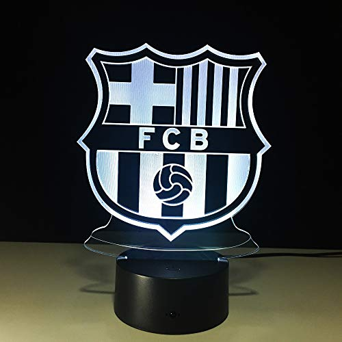 (Sykdybz Football Team FCB Night Light Football Club 3D Illusion Table Lamp Colors Changing Touch Lights)