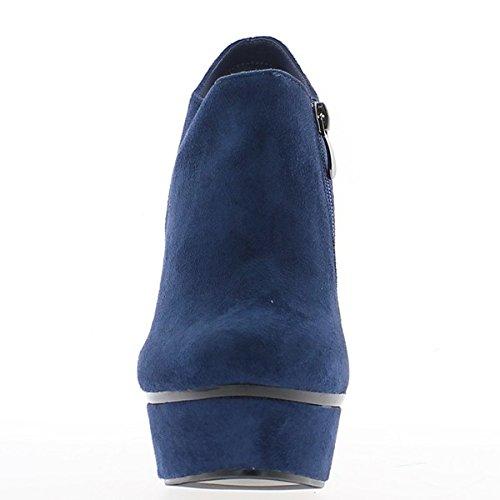 Nero stivali con lacci e tacco alto di stivali bassi 8,5 cm