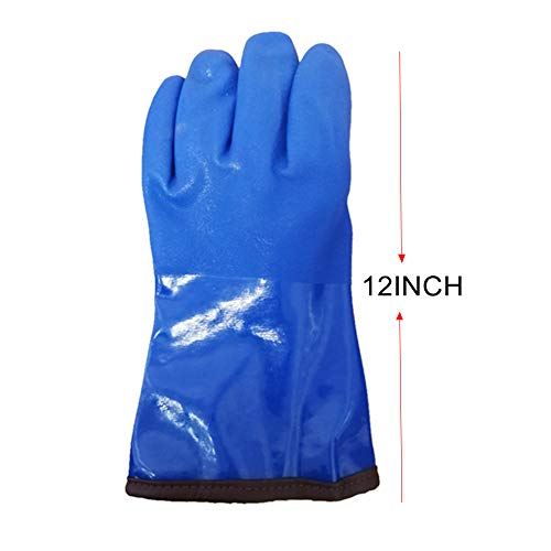 """12"""" Insulated & Waterproof PVC Coated Glove with Warm acrylic thermal liner, Heavy Duty Latex Gloves, Resist Strong Acid, Alkali and Oil,Fishing Operation glove-1 pair by PinkSally (Image #2)"""