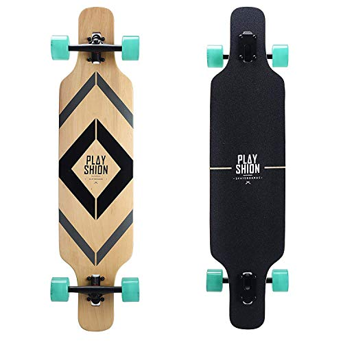 - Playshion 39 Inch Drop Through Freestyle Longboard Skateboard Cruiser Black