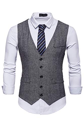Insenver Mens Dress Suit Vest Casual Button Down Slim Fit V-Neck Tweed Waistcoat Grey ()