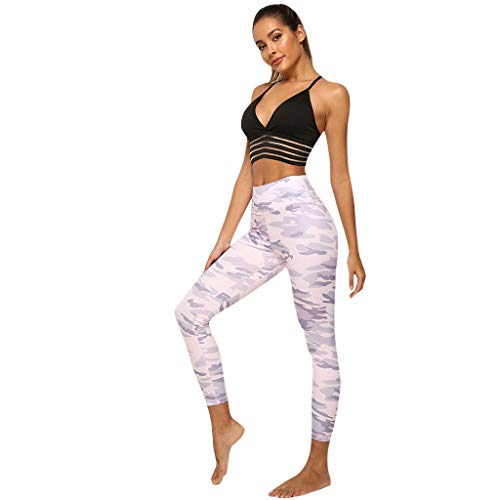 (Botrong Women's Casual Camouflage Printed High Waist Hip Exercise Yoga Leggings)