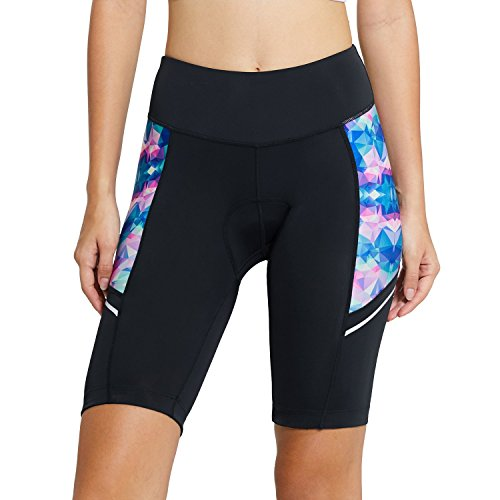 Baleaf Women's Cycling Padded Shorts UPF 50+ Color Geometry ()