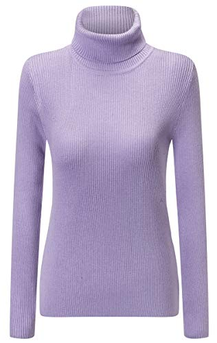 (Women's Basic Long Sleeves Turtleneck Rib Knitted Pullover Cashmere Sweater Tops, Lilac, US L/12 = Tag 2XL)