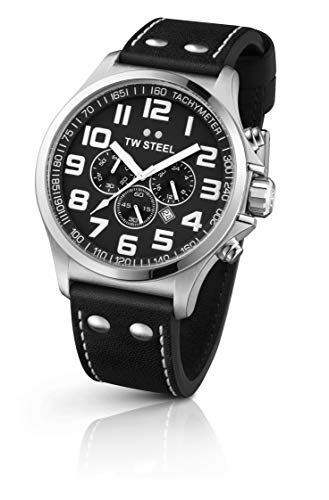 TW Steel Pilot Chronograph Black Leather Mens Watch TW413