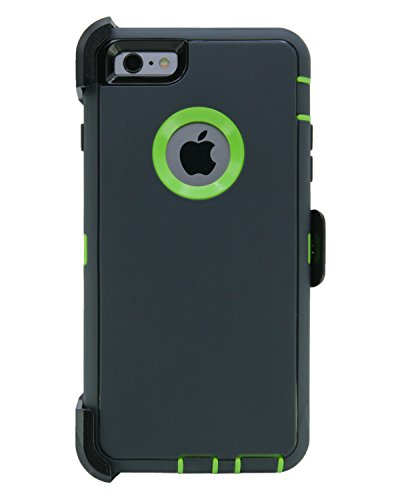 WallSkiN Turtle Series Cases for iPhone 6 Plus/iPhone 6S Plus (Only) Full Body Protection with Kickstand & Holster - The Oxbow (Dark Grey/Green)