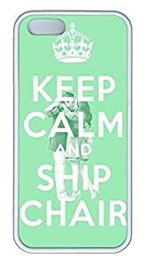Keep Calm And Chair Cover Case Skin for iPhone 5 5S Soft TPU White