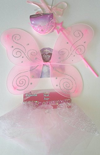 Fairy Princess Girls Children's Costume Bundle Includes 4 items Glittery Wings, Tutu Skirt, Crown, and Wand in Pink for Girls ages (Fairy Tail Cosplay Costumes For Sale)