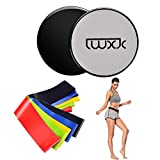 LWXJC Exercise Core Sliders with 5 Resistance Loop Bands.Dual Sided Gliding Discs for Carpet and Hardwood Floors.Home and Travel Fitness Equipment for Abs and Full Body