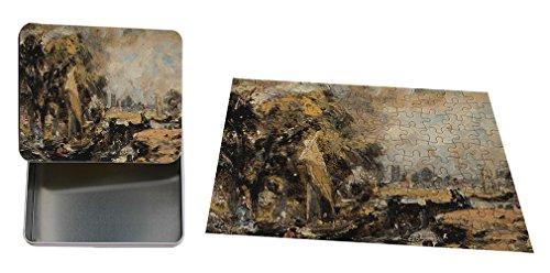 "Dedham Lock (Constable) Metal Tin Trinket Box (4""x6"") & Jigsaw Puzzle (30 Pieces) Set"