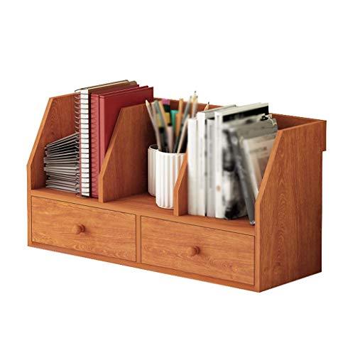 (LUHEN Wall Decoration Desktop Bookshelf Simple Double Drawer Storage Cabinet Table Lattice Shelf (Color : Cherry Wood) )