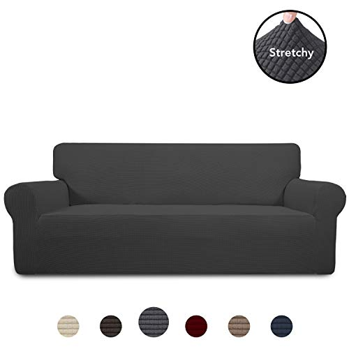 PureFit Stretch Sofa Slipcover - Spandex Jacquard Non Slip Soft Couch Sofa Cover, Washable Furniture Protector with Non Skid Foam and Elastic Bottom for Kids (Sofa, Dark Gray)