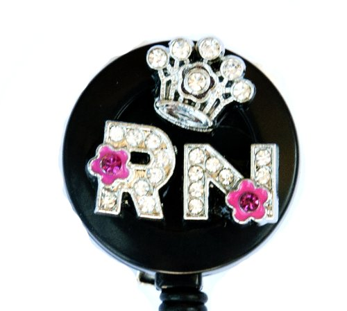 3D CROWN CRYSTAL FLOWER RN LOGO Nurse Rhinestone Retractable Badge Reel/ ID Badge Holder