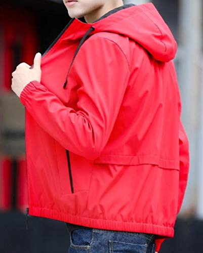 Coat Long Oversized Casual Sleeve Pockets Red Outwear Zip Hooded MogogoMen 4qxavBx