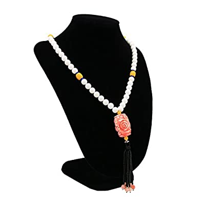 Romantic Time Cloud Pillar Carved Rose Tridacna Beads Tibetan Style Opera Y Necklace