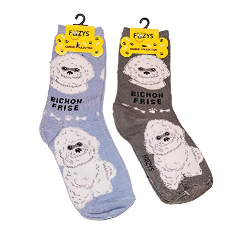 Foozys Unisex Crew Socks | Canine/Dog Collection | Bichon Fris (Frise Breeds Bichon)