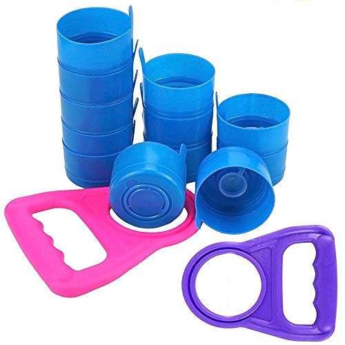 Wesdxc 20 Pieces Non Spill Caps Anti Splash Bottle Caps Reusable for 55mm 3 and 5 Gallon Water Jugs with 2 Pieces Water Bottle Handle(Random Color)