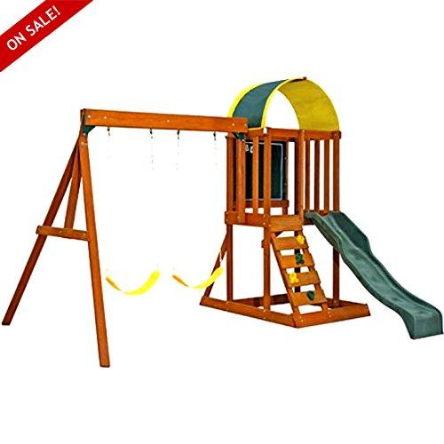 木製スイングセットCedar KidsアウトドアPlaycenter楽しいゲームプレミアムPlayセットReady to Assemble安全構造 – Skroutz B075MH7NZL