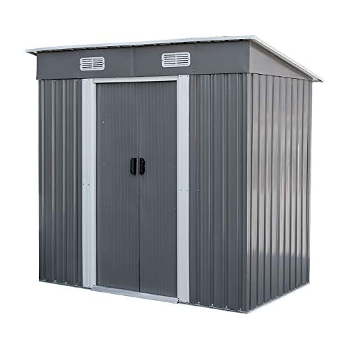 BAHOM Horizontal Outdoor Storage Shed 4X6 FT, Lockable Organizer for Garden, Patio, Backyard Tools and Accessories, Grey