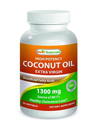 Best Naturals High Potency Coconut Oil Organic Extra Virgin 1300 mg 90 (Best Naturals Coconut Oils)