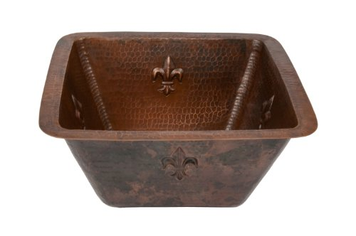 Premier Copper Products BS15FDB2 15-Inch Universal Square Fleur De Lis Hammered Copper Bar Sink with 2-Inch Drain Size, Oil Rubbed Bronze by Premier Copper Products
