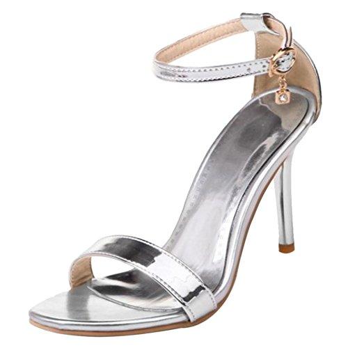 Sandalia Simple de Correa Coolcept con Mujer Tacones Silver Tobillo 5qCFwwpPz