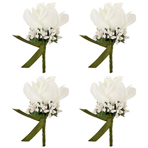 JaosWish 4PCS Flower Men Boutonniere Handmade Silk Men Corsage for Groom Wedding Party Suits