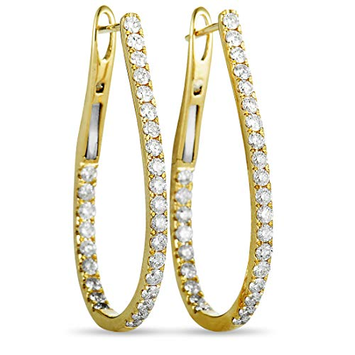 - Odelia LB Exclusive 18K Yellow Gold Full Diamond Pave Inside Out Hoop Earrings