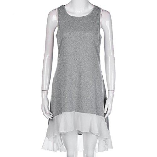 IMJONO - Vestido - Moda - Sin mangas - para mujer gris