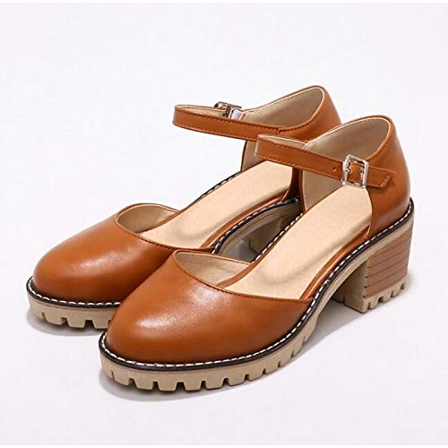 Almond Pump Women's Heel PU Black Shoes Polyurethane Yellow Black Chunky Spring Heels Basic ZHZNVX xS7Ywq7Z