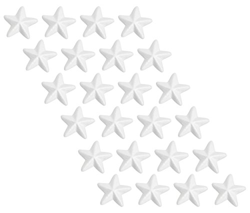 Craft Foam Stars - 24-Piece Star-Shaped Polystyrene Foam for Arts and Craft Use - Makes DIY Ornaments and Decorations, White, 2.3 x 0.875 x 2.3 inches -