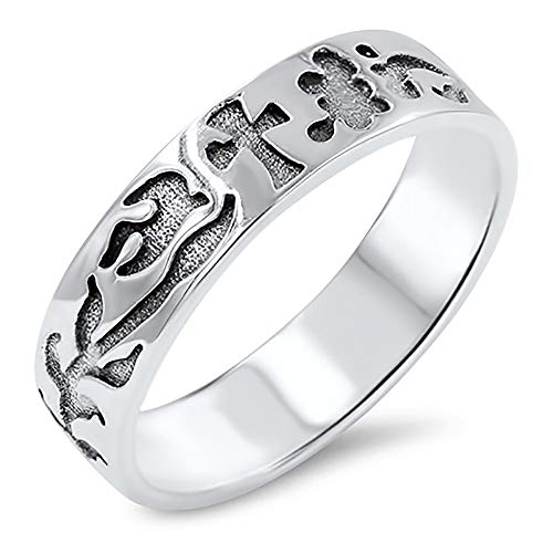 Sterling Silver Dove, Cross, and Vines Wedding Band 6mm (Size 6 to 12), 11