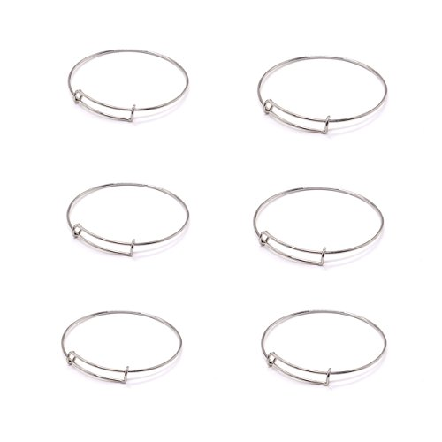 HUELE Stainless Steel Expandable blank Bangle for DIY Jewelry Making, 6 Pcs