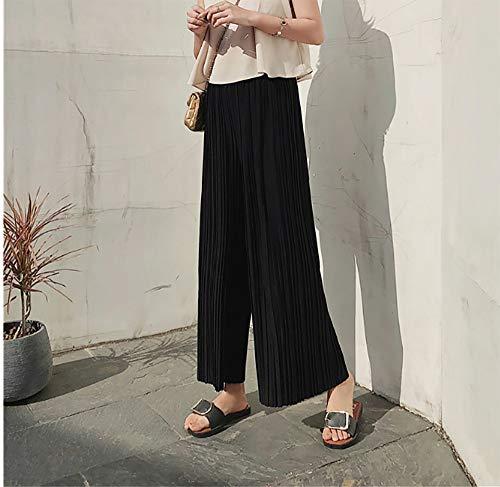 a da vita a Kbwin Pantaloni casual estivi Pantaloni da Pantaloni Nero eleganti vita elastico leggero con alta pantaloni ampi larghe pieghe da in e palazzo donna chiffon in donna qrOU1a6qwW