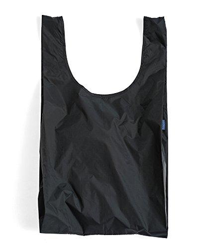 BAGGU Large Reusable Shopping Bag, Foldable Ripstop Nylon Tote for Laundry or Shopping, Black (2018)