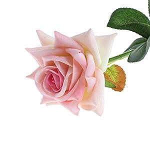 Padory Single Stem Artificial Flower Fake Silk Rose Bridal Wedding Garden Home Decor (Pink) 73