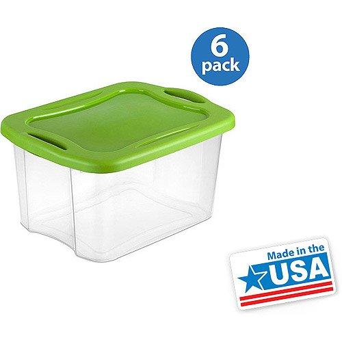 Sterilite 40 Quart Easy Carry Storage Box- Spicy Lime, Set of 6