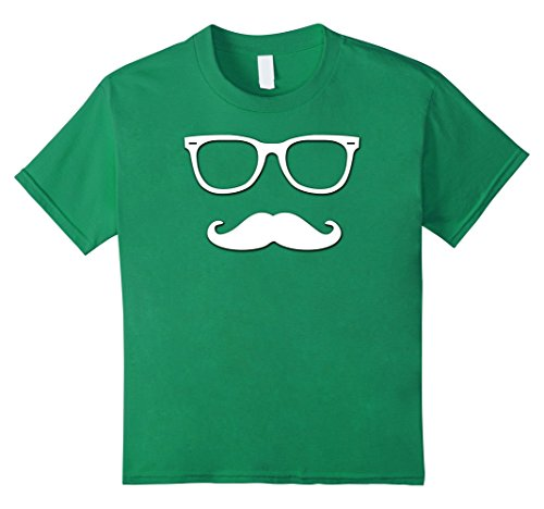 unisex-child Fake Moustache and Glasses Disguise T Shirt Cool Design 10 Kelly Green (Quality Fake Moustache)
