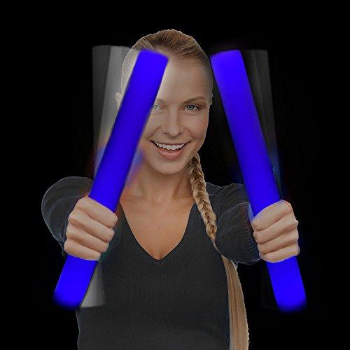 Fun Central AQ072 LED Foam Stick Baton Supreme, Flashing Baton - Blue - 6 Pcs - 16 Inches -