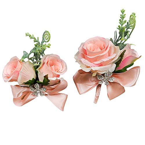 Daisy Rose Corsage - Abbie Home Rose Buds Rhinestone Jewelry Wrist Corsage Boutonniere Set for Suit Bow Décor for Party Wedding (Blush Pink)