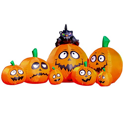 Halloween Haunters 8 Foot Inflatable Pumpkin Patch Yard Prop Decoration with 7 Jack-O-Lanterns and Witch Cat with Flashing Multi-Color LED Eyes, Indoor Outdoor Lawn Blow Up Haunted House Party Display (House Up Blow Cheap)