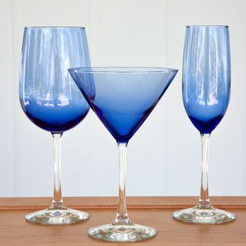 The Christmas Boutique Famous Maker Cobalt Blue Tall Stem Martini Glass Set of 4