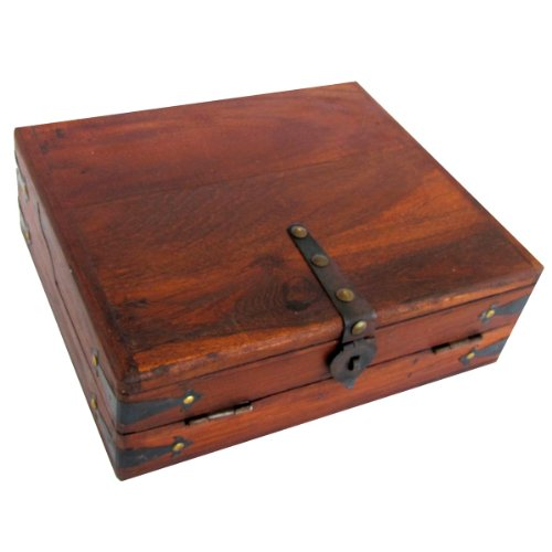 Antique Style Wood Folding Travel Writing Lap Desk