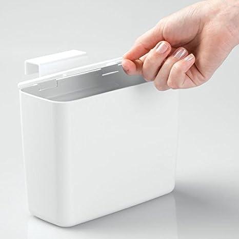 mDesign Caja organizadora para tampones - Discreto contenedor con tapa - Se cuelga de los muebles de baño o la cisterna - Accesorios de baño sin taladro ...